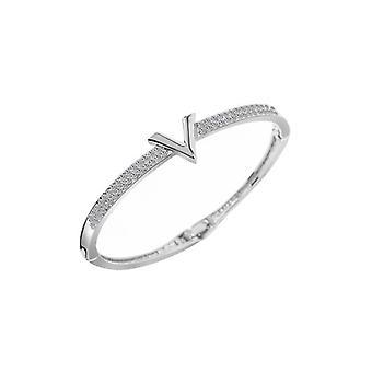 Luxury Letter Crystal Rhinestone Arm Cuff Zircon Bracelet