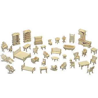 Cute room wooden puzzle house furniture set - 28 pieces