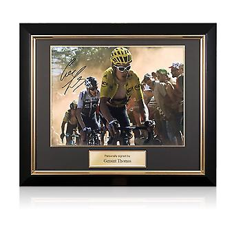 Geraint Thomas allekirjoitettu Tour de France kuva: hollanti Corner. Deluxe-runko