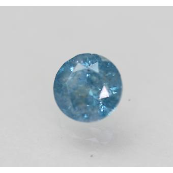 Cert 0.69 Karaat Fancy Sky Blue Round Brilliant Enhanced Natural Diamond 5.38mm