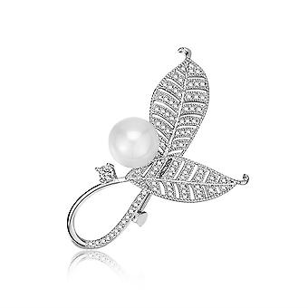 Brooch Pin Overlapped Leaves Corsage Pearl Inlaid Alloy Ladies Brooch