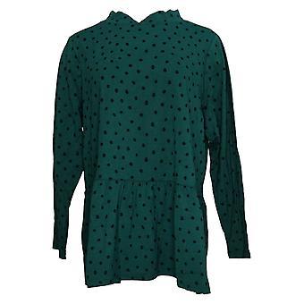 Denim & Co. Top donna più jersey stampato Mock Neck Peplum Green A388977