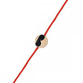 Smiley pink vermeil cord bracelet and red cord 'apos;Cool'apos;