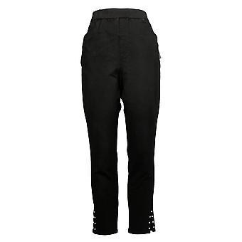 Quacker Factory Women's Rhinestone Trim Slim Leg Pants Black A398155