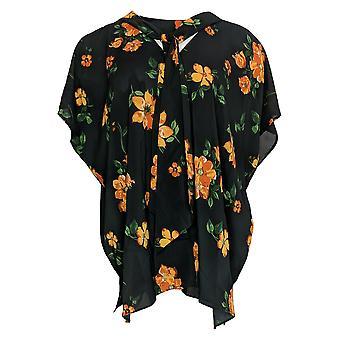Laurie Felt Women's Top V Neck Woven Knit Scarf Black A367033