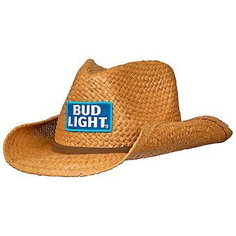 Chapeau de cowboy en paille Bud Light avec bande brune