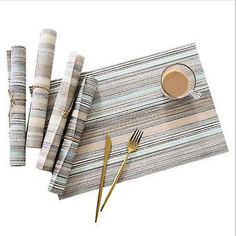 4 Pcs/set Modern PVC Placemat Non Slip Dining Table Mat Cafe Waterproof Placemats Bowl Pad Cup Mat