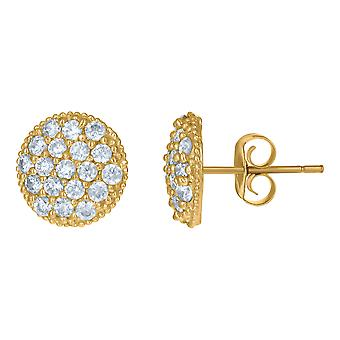 10k Yellow Gold Mens Cubic zirconia Round Stud Earrings Jewelry Gifts for Men - 1.6 Grams