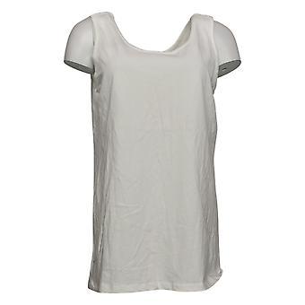 Kvinder med Control Women's Top Reg Hyggelig Strik Side Tie T-shirt Hvid A375892