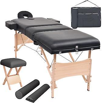 vidaXL Massageliege 3 Zonen Klappbar mit Hocker 10 cm Polsterung Schwarz