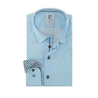 R2 Hidden Button Down Collar Long Sleeved Shirt Light Blue