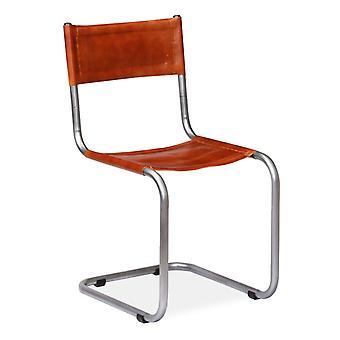 vidaXL sillas de comedor 2 piezas de cuero real marrón