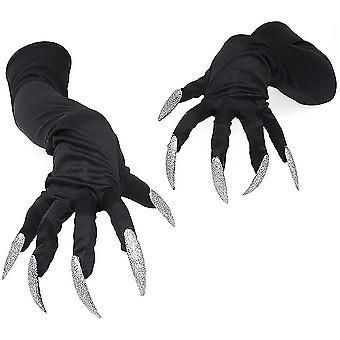 Monster Claw Halloween Cosplay rukavice se stříbrným zářícím dlouhým nehtem pro děti