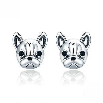 Ear Studs Franse Bulldog Hond S925 Zilveren Oorbellen Voor Ceremonie