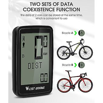 1Set pvc west biking 5 language 21 functions waterproof wireless bike bicycle computer stopwatch lcd display cycling accessories