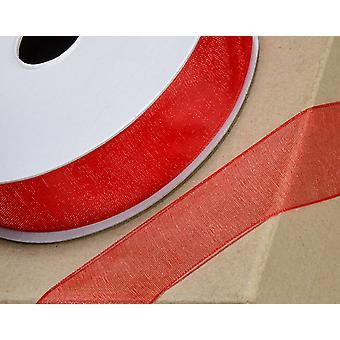 25m rød 10mm bred vævet kant Organza bånd til håndværk