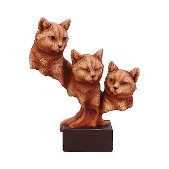 Feline Trio Three Cats Wood Effect Bust