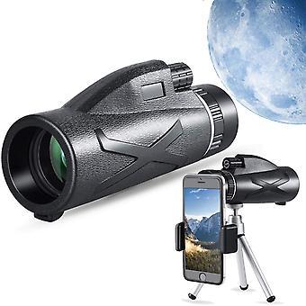 Télescope monoculaire 12x50 -HD monoculaire avec support de smartphone et trépied imperméable monoculaire avec pour l'observation des oiseaux, le camping, la randonnée (noir)