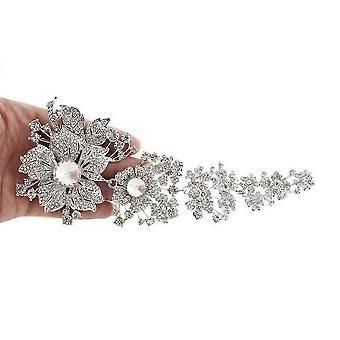 Extra nagy női bross virág fűző menyasszonyi bross pin