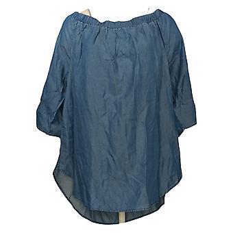 Colleen Lopez Women's Top Plus Off The Shoulder W/ Tie Sleeves Blue 739764