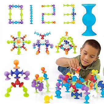 19ks Diy Silicone Stavební bloky Dětské hračky Sestavené Sací pohár Funny Puzzle Vzdělávací hračky