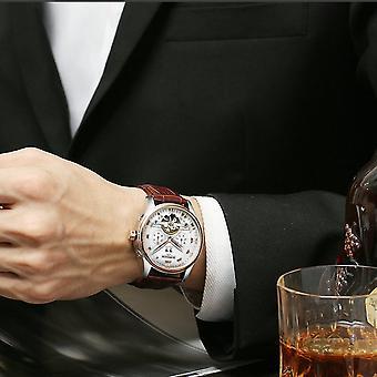 גברים עמידים למים עסקים לצפות Tourbillon חלול אוטומטי מכני שעון