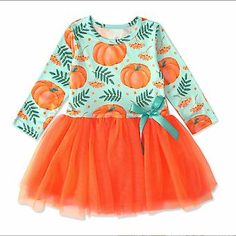 Girl Halloween Dress Long Sleeve Cartoon Pumpkin A Line Tulle Princess Dress Party Tutu Skirt Ruffle Lace Patchwork Mesh Skirt Costume Clothes Outfits