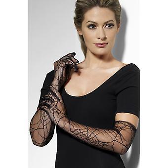 Mănuși de dantelă web Spider model Halloween negru