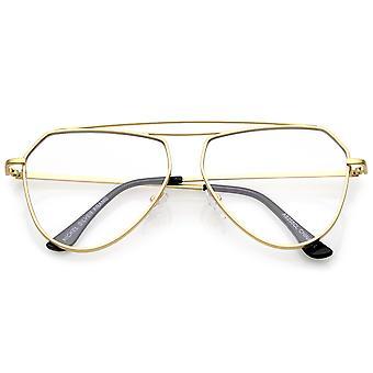 Modern matta metalli runko kahden nenäsilta Poista tasainen linssi Aviator silmälasit 52mm