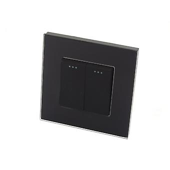 I LumoS Luxury Black Glass Frame 2 Gang 2 Way Rocker Wall Light Switches
