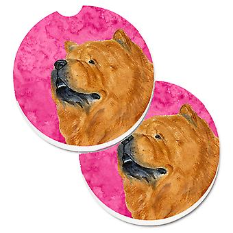 Pink Chow Chow Set of 2 Cup Holder Car Coasters