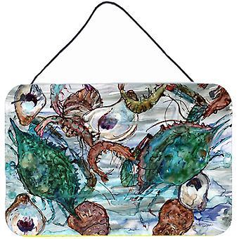 Krewetki, kraby i ostryg w wodzie ściany lub drzwi wiszące drukuje