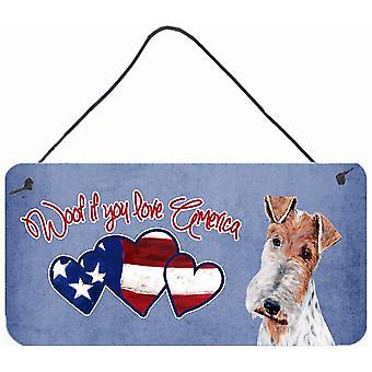 Wuff, wenn Sie Amerika Wire Fox Terrier Wand oder Tür hängen Drucke lieben