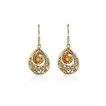 Womens Gold Champagne Hollow Teardrop Drop Earrings Present