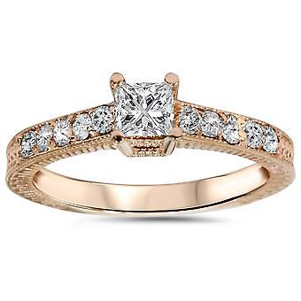 1 / 2ct Vintage Princess Cut diamant förlovningsring 14K roséguld