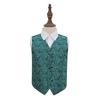Teal Paisley bryllup vest for gutter