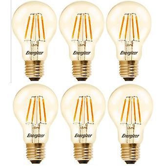6 X Energizer GLS Globe Antique Gold Finish LED Filament Energy Saving Light Bulb E27 ES Edison Screw Fitting [Energy Class A+]