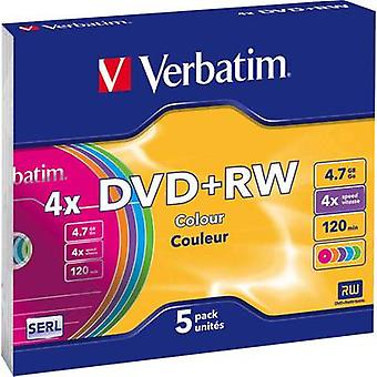 Verbatim 43297 Blank DVD+RW 4.7 GB 5 pc(s) Slim case Colour