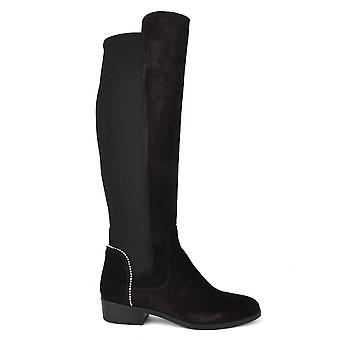 Kanna Nola Black Suede Knee High Boots