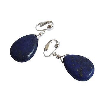 Gemshine-dam-örhängen-öron klämmor-925 silver-lapis lazuli Drops-blå