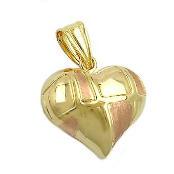 Heart pendant Heart Necklace gold 375 pendant, heart bicolor, 9 KT GOLD