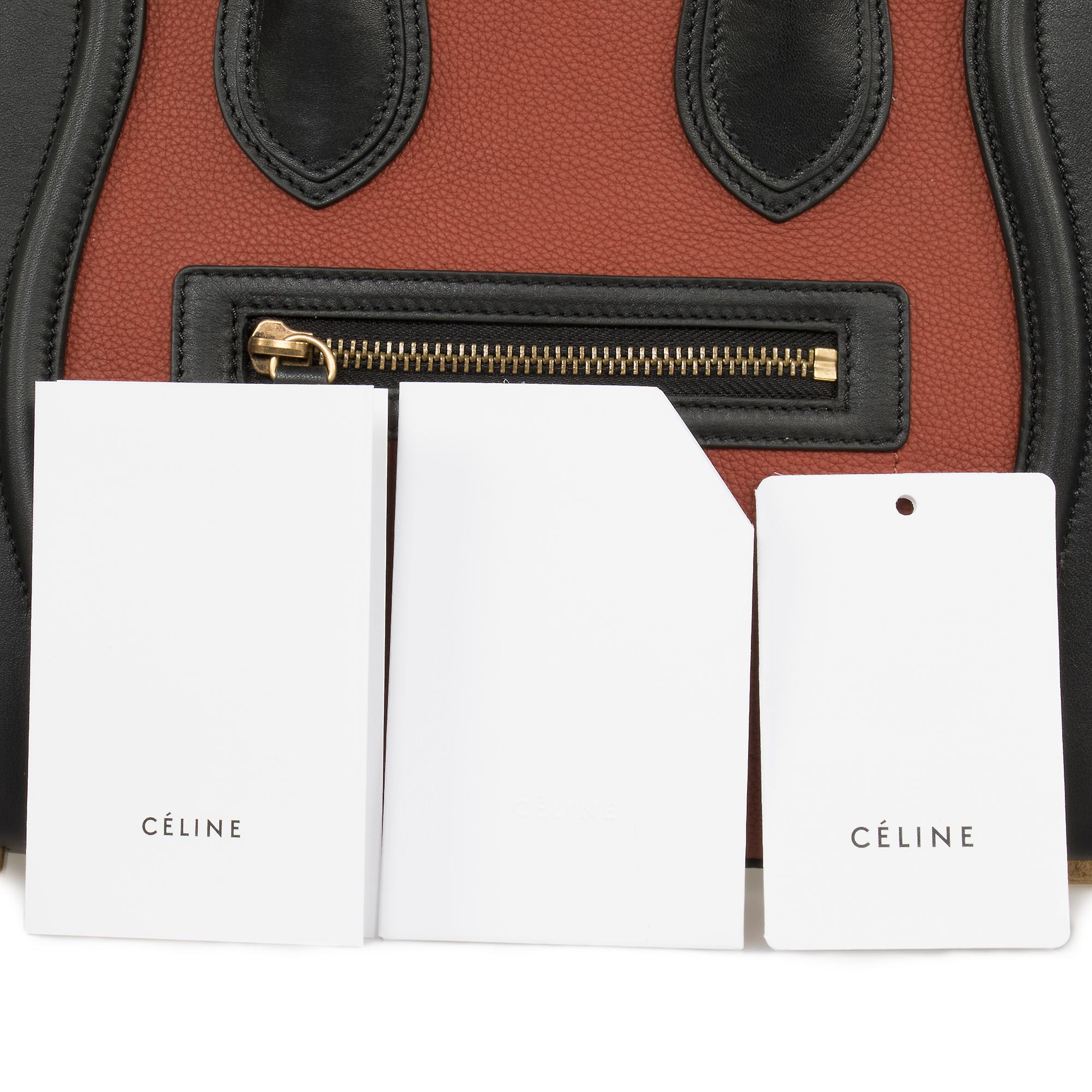 Celine Micro Luggage Leather Bag | Tri-Color Black w/ Gold Hardware