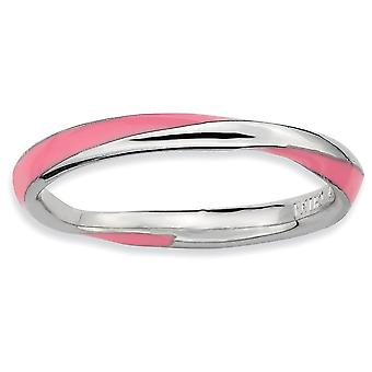 925 Sterling Silver Polished Rhodium-plated Twisted Pink Enameled 2.5 x 2.25mm Stackable Ring - Ring Size: 5 to 10