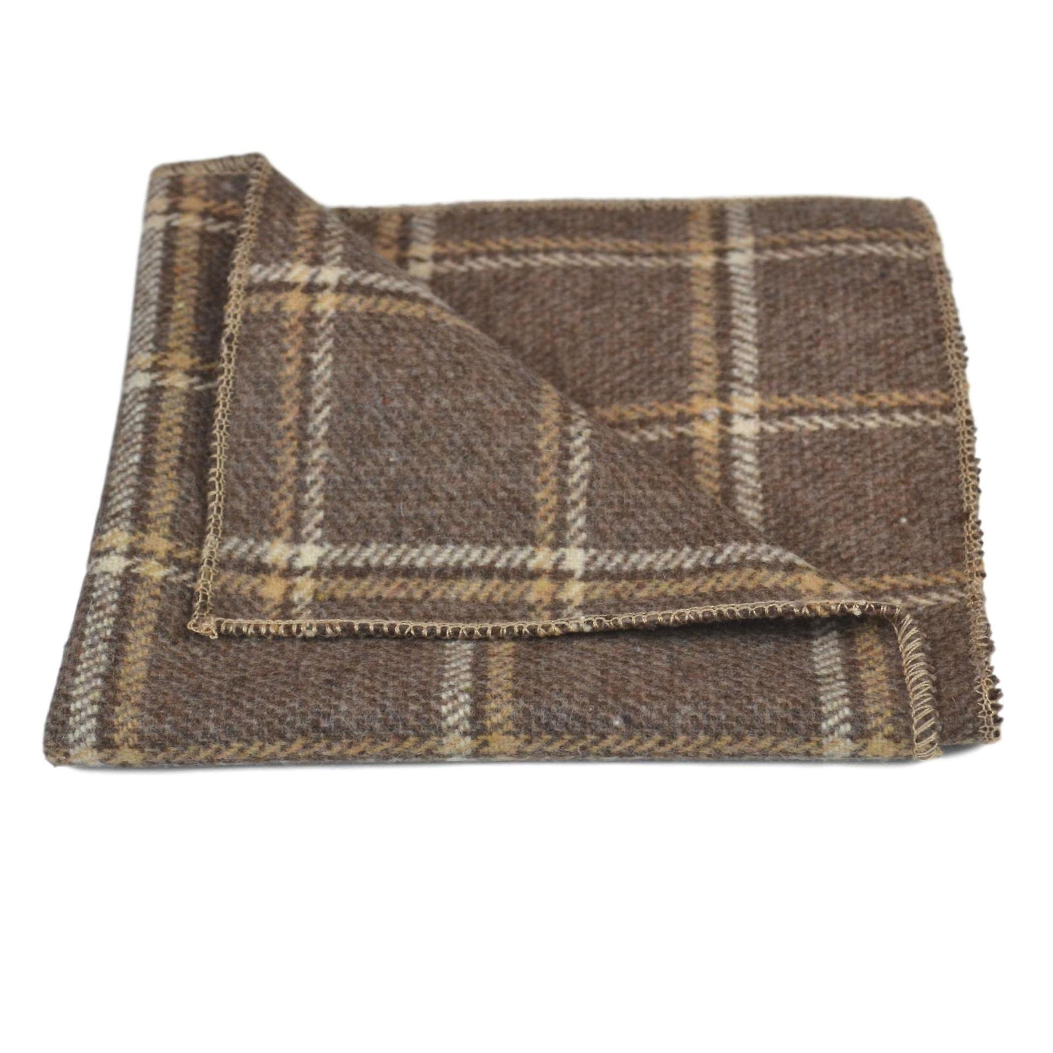 Heritage Pecan Brown Check Tie & Pocket Square Set