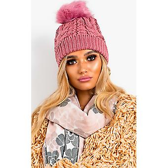 IKRUSH Womens Tammy Faux Fur Lined Pom Pom Hat