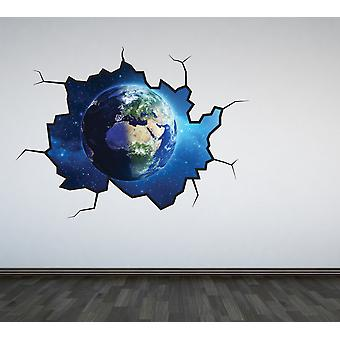 Full Colour Planet Earth Cracked Wall Sticker