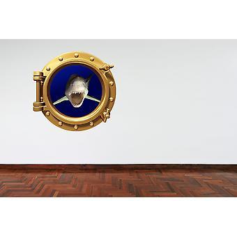Full Colour Brass Porthole Great White Shark Wall Sticker