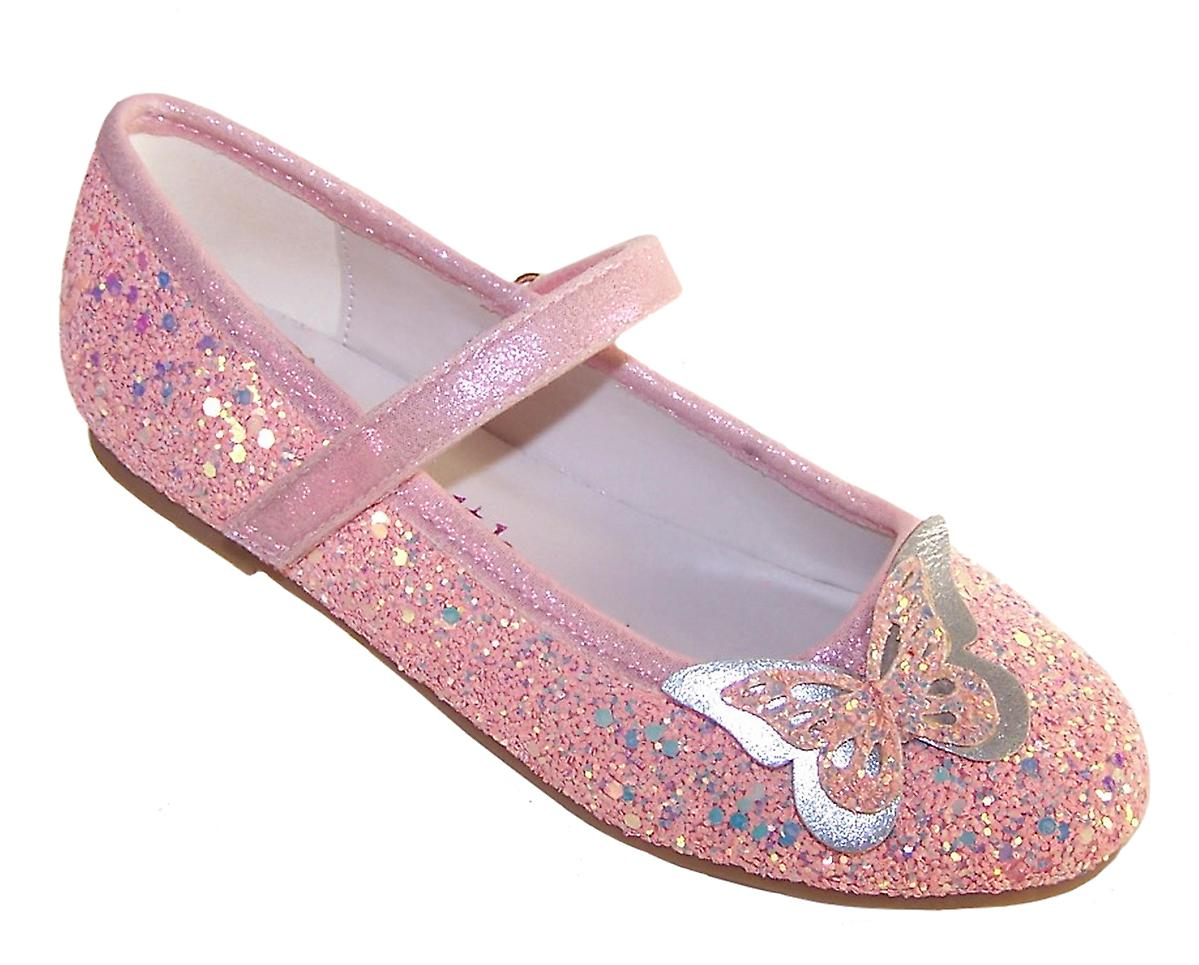 Girls pink sparkly glitter ballerina party shoes with butterfly trim
