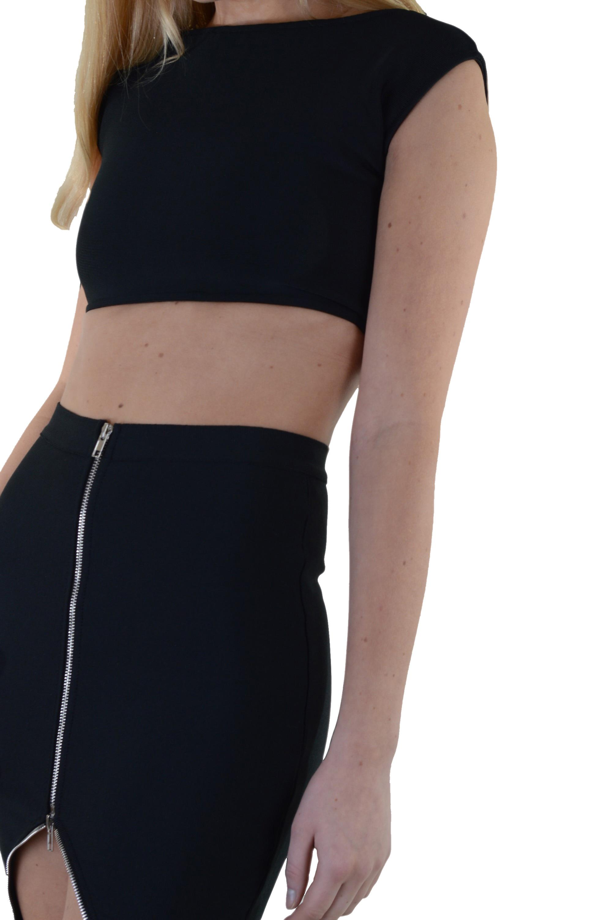 Lovemystyle Black Co-ord Featuring Crop Top And Zip Skirt