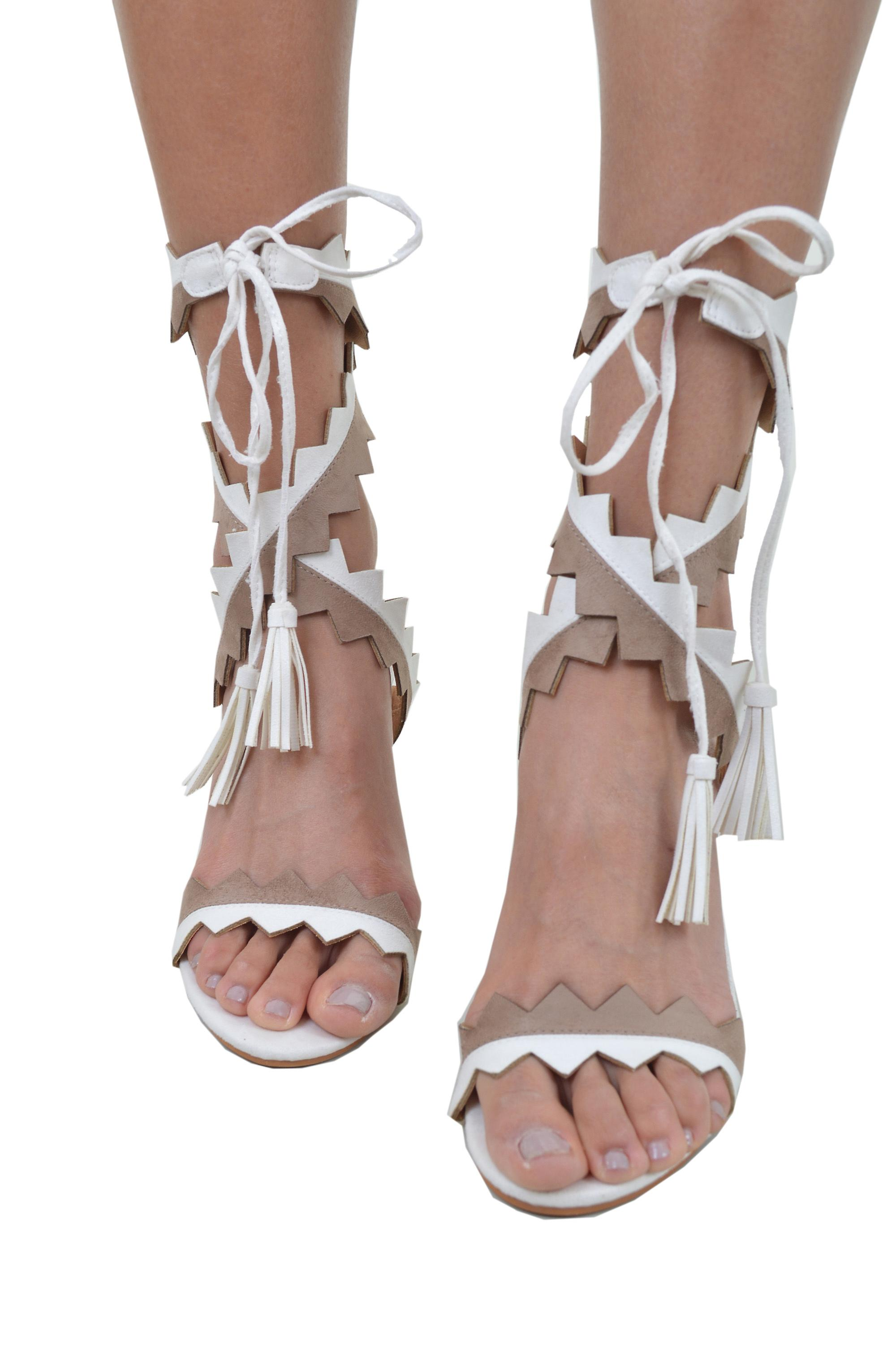 Lovemystyle Wraparound Zigzag Heel Sandals In White